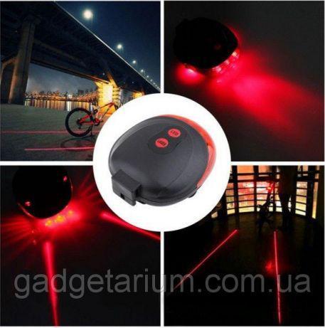 Задний фонарь, лазер велосипедный, габарит 5LED+2LASER Влагозащита + 2 батарейки