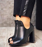Кожаные открытые туфли на каблуке