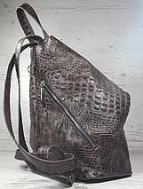 """296 Натуральная кожа, Городской рюкзак кожаный коричневый рюкзак женский крокодил рюкзак с карабином """"антивор"""", фото 3"""