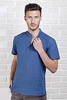 Рубашка мужская синяя из льна с воротник стойкой, фото 1