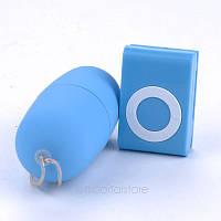Беспроводное виброяйцо (вибропуля) с пультом MP3 Player (водонепроницаемый вибратор для женщин) синего цвета