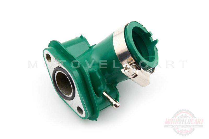 """Патрубок карбюратора (коллектор)   4T GY6 50   (силиконовый, зеленый)   """"NJK"""""""