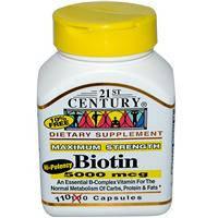 Биотин (витамины для  волос)  110 капс  5000 мкг 21st Century USA