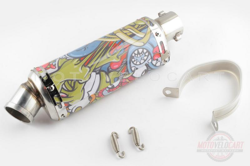 Глушитель (тюнинг)   235*88mm, креп. ?48mm   (нержавейка, овал, граффити, прямоток)
