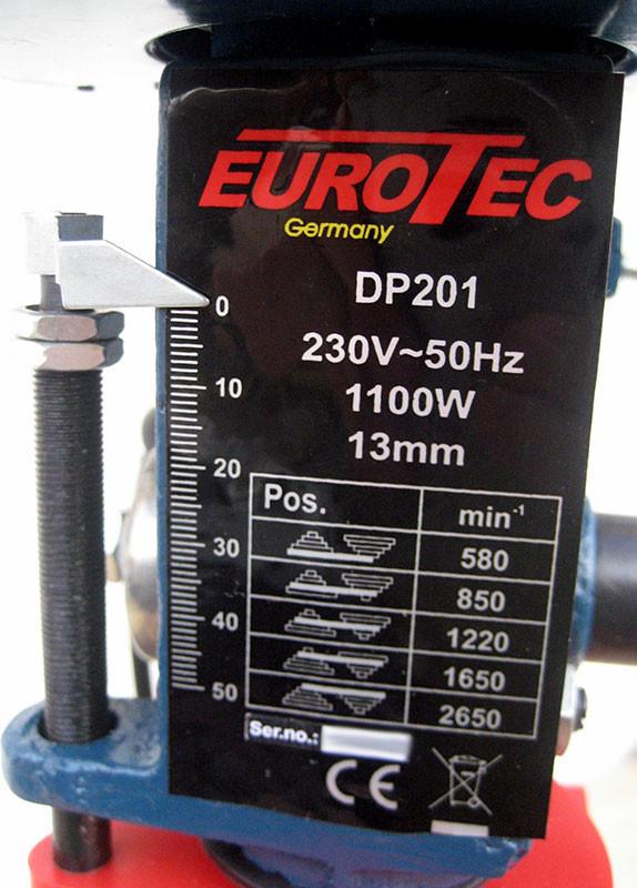 Сверлильный станок Eurotec DP 201, ограничитель сверления, таблица скоростей