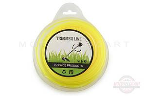 """Леска мотокосы O2,0mm, 60 метров (квадрат, желтая) """"YLA"""""""
