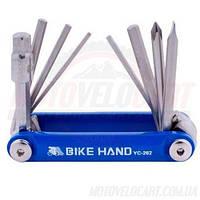"""Шестигранник, набор (2-6 мм, 2 отвертки + 1 головка 8 мм) """"Bike Hand"""" Taiwan (mod:YC-262) цвет : в ассортименте"""