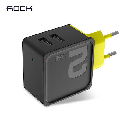 Универсальное сетевое зарядное устройство Rock Sugar Travel Charger 2 USB 12W RWC0239 (Черное), фото 2