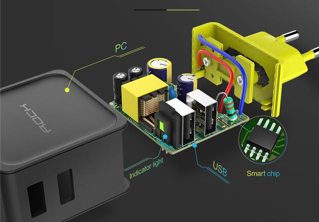 Универсальное сетевое зарядное устройство Rock Sugar Travel Charger 2 USB 12W RWC0239