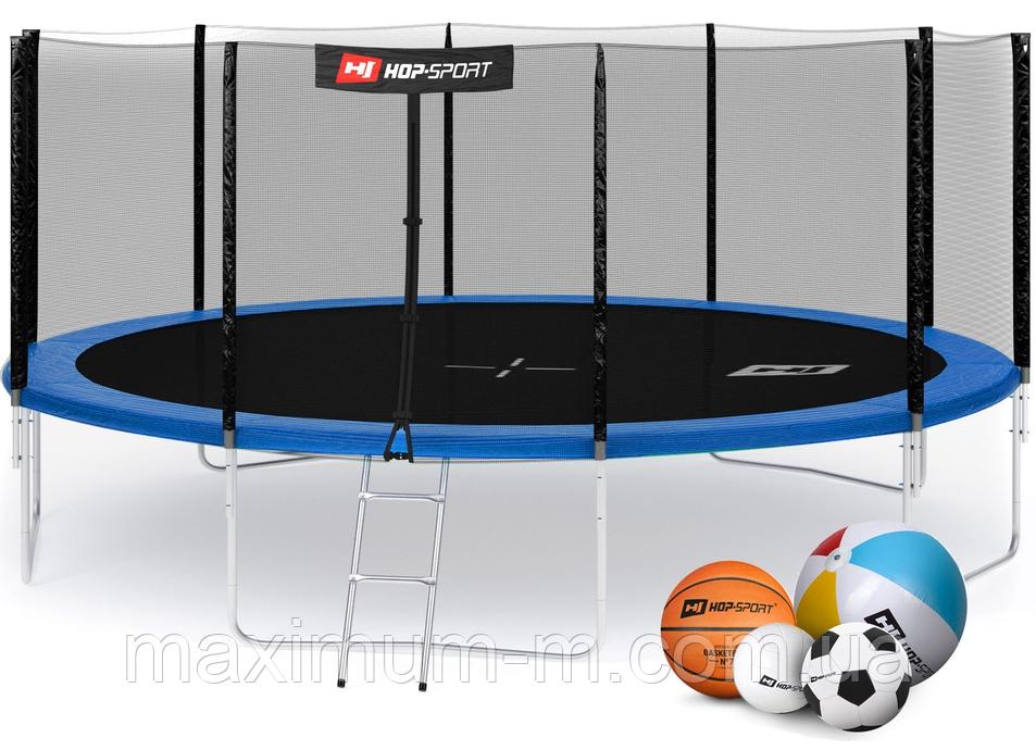 Батут Hop-Sport 16ft (488cm) blue с внешней сеткой