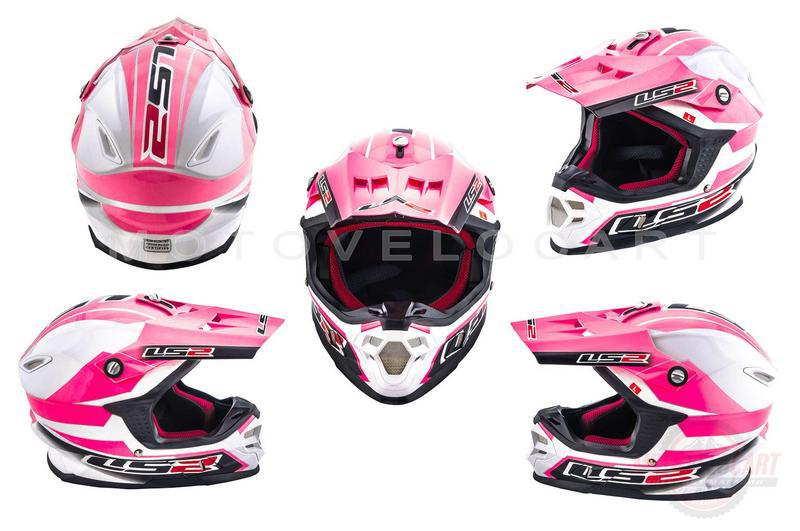 """Шлем кроссовый   (mod:MX456) (size:L, бело-розовый)   """"LS-2"""""""