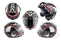 """Шлем трансформер   (size:ХL, бело-черный + солнцезащитные очки)   """"LS-2"""""""