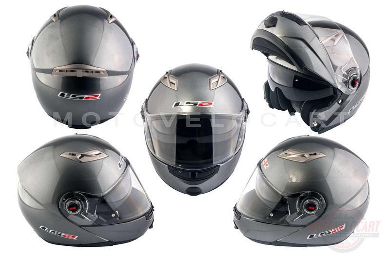 """Шлем трансформер   (size:ХХL, серый + солнцезащитные очки)   """"LS-2"""""""