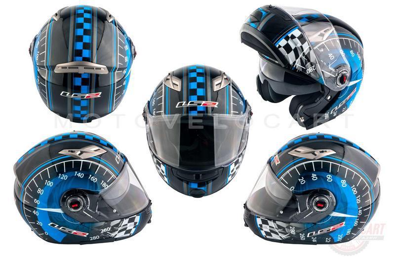 """Шлем трансформер   (size:ХХL, сине-черный + солнцезащитные очки)   """"LS-2"""""""