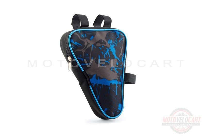 """Сумка велосипедная на раму   (вертикальная)   (mod:1, черно-синяя)   """"AI"""""""