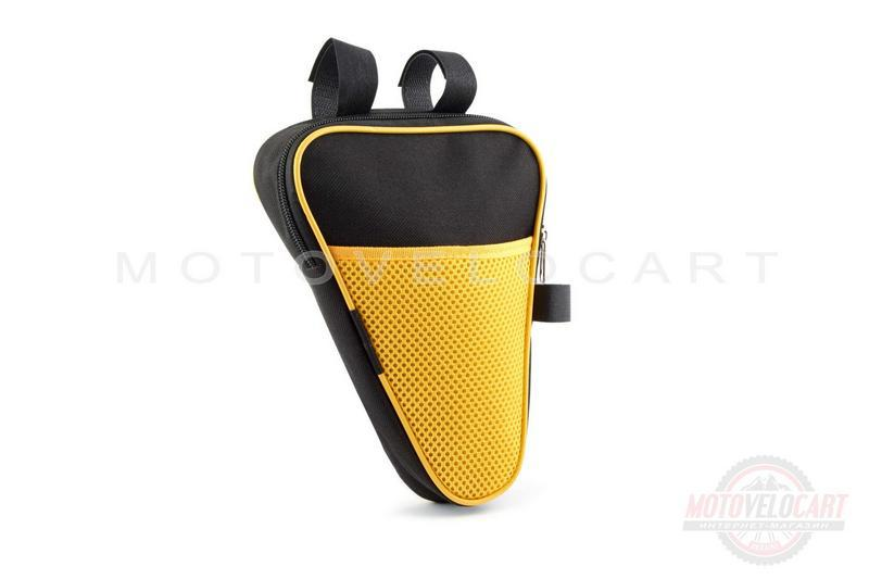 """Сумка велосипедная на раму   (вертикальная)   (mod:2, черно-желтая)   """"AI"""""""