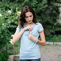 """Футболка для беременных и кормящих """"Голубая"""" c удобным секретом, для доступа к груди M S L XL, фото 1"""
