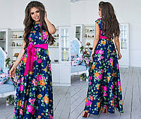 b6b11b5120c Нарядное длинное платье из шелка в цветочный принт