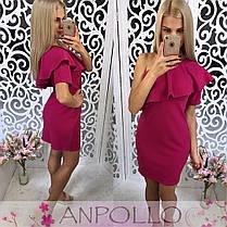 Платье мини на одно плечо с рюшей и рукавом, фото 3