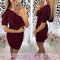 Платье мини на одно плечо с рюшей и рукавом, фото 2