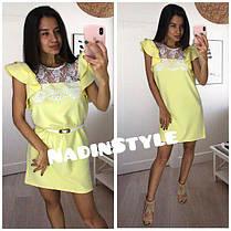 Платье свободное верх кружево с рюшей на плечах, фото 3