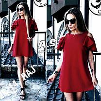 Платье короткое свободное с рюшей на плечах лен, фото 2