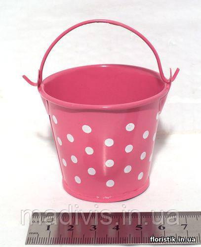 Ведерко декоративное 5,5 см., горох ярко-розовое