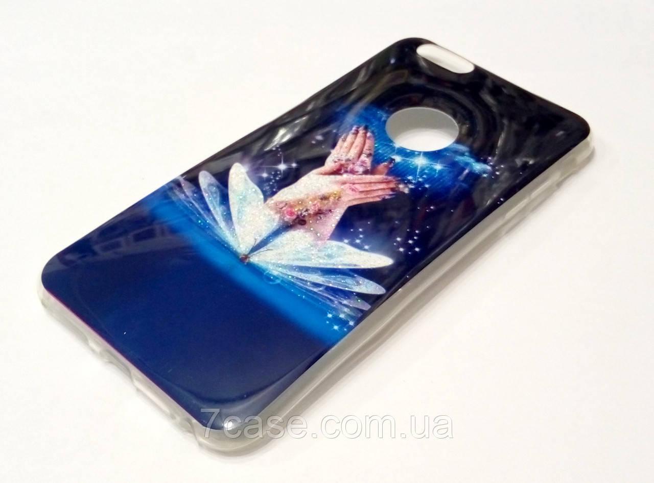 Чехол для iPhone 6 Plus / 6s Plus силиконовый с рисунком бабочка с блестками синий