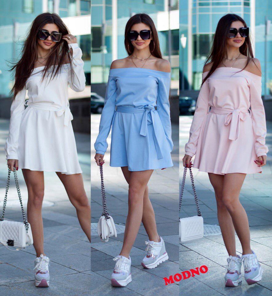0a9f61341b4 Платье летнее стильное трикотажное с открытыми плечами мини Smm2441 -  Shoppingood в Харькове