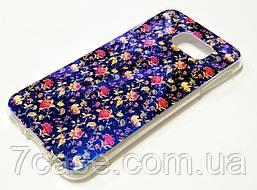 Чехол для Samsung Galaxy S6 G920 силиконовый с рисунком цветочки синий