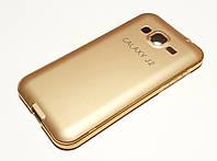Чехол для Samsung Galaxy J2 J200 (2015) бампер алюминиевый + крышка золотой, фото 1