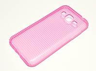 Чехол силиконовый для Samsung Galaxy J2 J200 (2015) ребристый розовый, фото 1