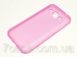 Чехол силиконовый для Samsung Galaxy J2 J200 (2015) ребристый розовый