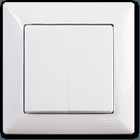 Выключатель двухклавишный Gunsan Visage, VS 28 11 103, белый