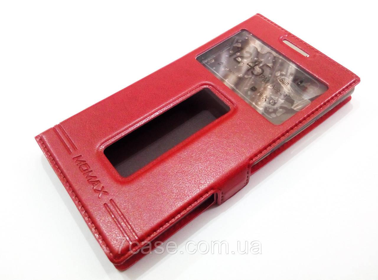 Чехол книжка с окошками momax для Lenovo P70 красный