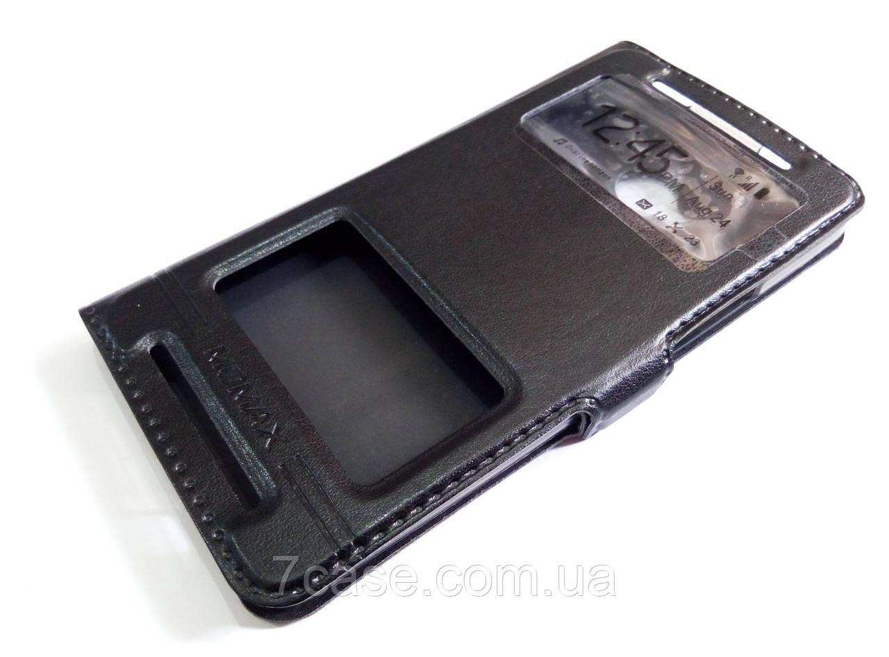 Чехол книжка с окошками momax для HTC One M7 черный