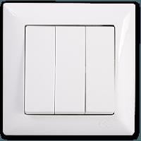 Вимикач трьохклавішні Gunsan Visage, VS 28 11 160, білий