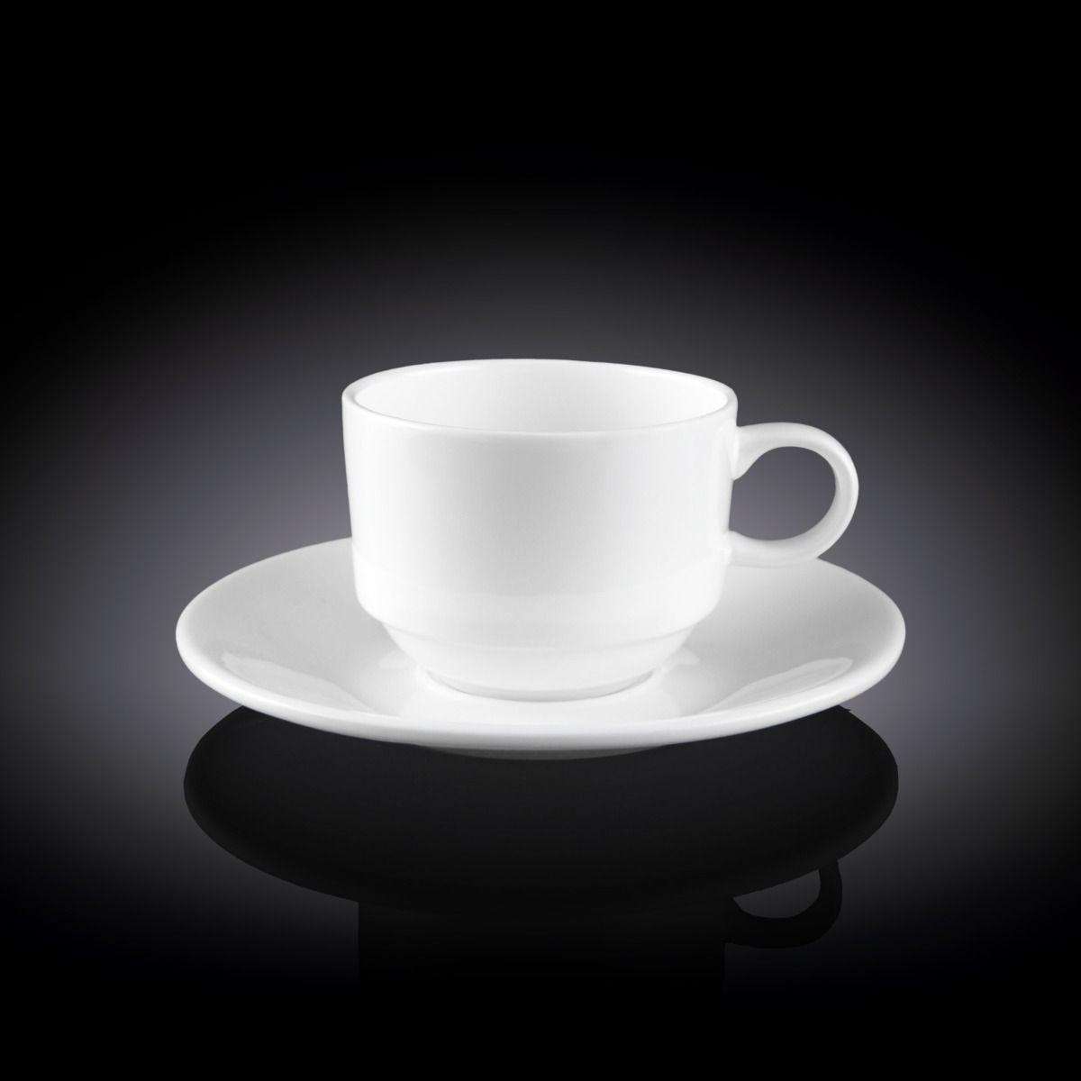 Чашка кофейная с блюдцем Wilmax 140 мл