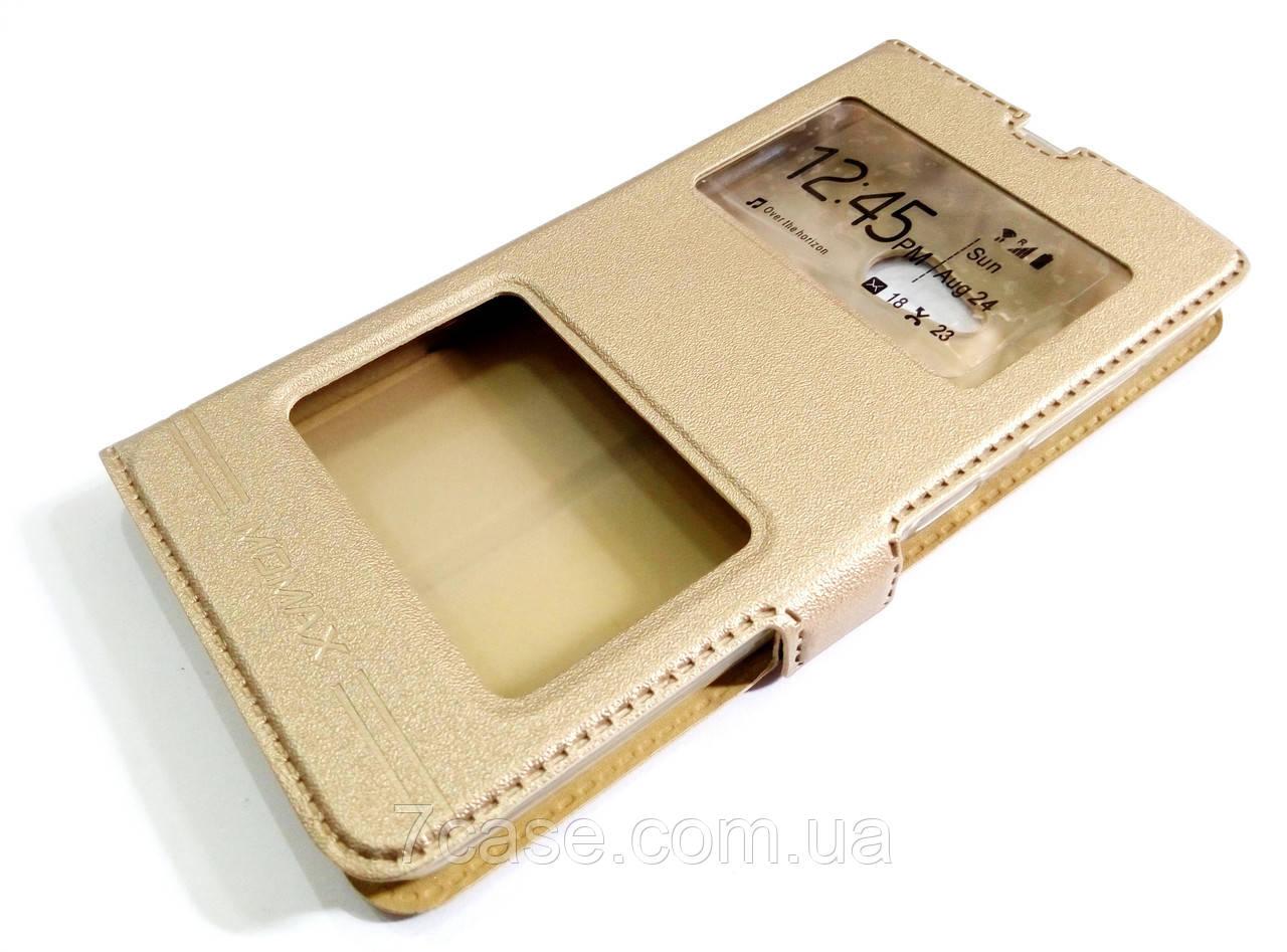 Чехол книжка с окошками momax для Microsoft Lumia 535 золотой