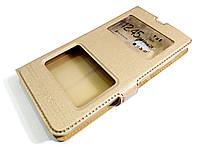 Чехол книжка с окошками momax для Microsoft Lumia 535 золотой, фото 1