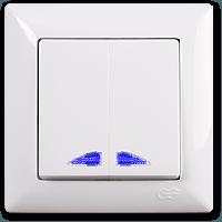 Выключатель двухклавишный Gunsan Visage с подсветкой, VS 28 11 104, белый