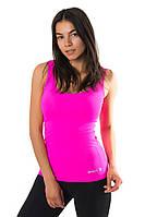 Спортивная майка SW (размеры 40-42, 42-44, 44-46, 48-50) женская майка для спорта и фитнеса из бифлекса. РОЗОВАЯ