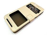 Чехол книжка с окошками momax для HTC Desire 700 dual sim золотой, фото 1