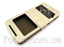 Чехол книжка с окошками momax для HTC Desire 700 dual sim золотой