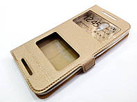 Чехол книжка с окошками momax для HTC Desire 620 / 620G dual sim / 820 Mini золотой