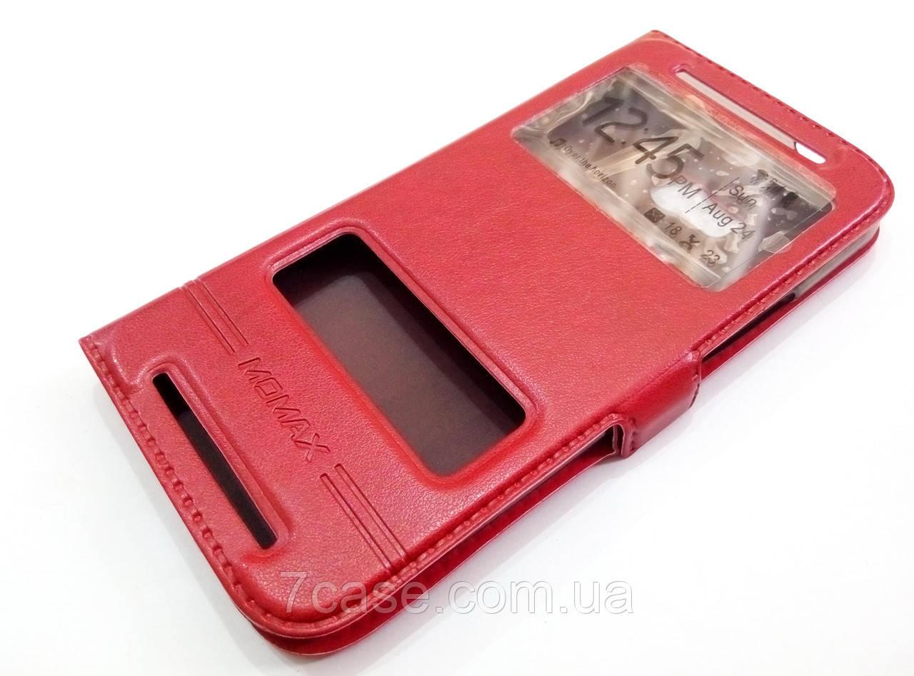 Чехол книжка с окошками momax для HTC One M8 красный