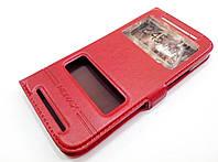Чехол книжка с окошками momax для HTC One M8 красный, фото 1