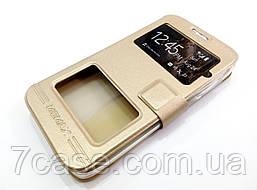 Чехол книжка с окошками momax для Lenovo A526 золотой