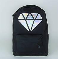 Товар с дефектом!!Черный городской рюкзак с кристаллом