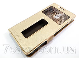 Чехол книжка с окошками momax для Lenovo Vibe P1m золотой